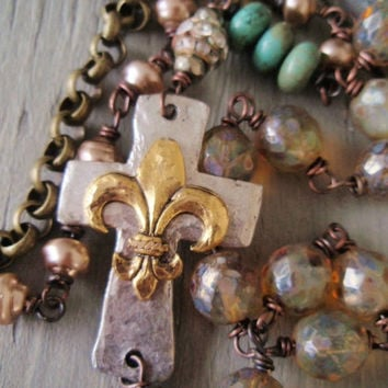 Sideways Cross long necklace 'Holy Fleur' rosary style turquoise pearls fleur de lis vintage rhinestones religious rustic country boho