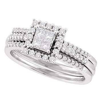 14kt White Gold Women's Princess Diamond 3-Piece Halo Bridal Wedding Engagement Ring Band Set 1/2 Cttw - FREE Shipping (US/CAN)