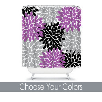 Shower Curtain CUSTOM You Choose Colors Purple Black Gray Flower Burst Dahlia Pattern Bathroom Bath Polyester Made in the USA