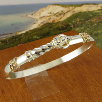 Lighthouse Bracelet Hand Crafted on Cape Cod of Sterling Silver and solid 14k gold