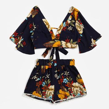 Women Botanical Print Shorts Set