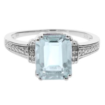 1 Ct Natural Blue Aquamarine Diamond 8x6 Emerald Ring Sterling Silver Sz 7