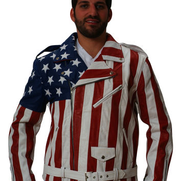 USA American Leather Flag Jacket Nappa Sheepskin Mens Womens all leather stitched not printed