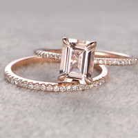 2pc 6x8mm Morganite Engagement ring set Rose gold,Diamond wedding band,14k,Emerald Cut,Gemstone Promise Bridal Ring,Claw Prongs,Pave Set