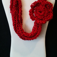 color: Candy Apple // Red Toddler Scarflette, Luxury Baby Shower Gift, Daddy Firefighter, Red soft Necklace Scarf, Infinity Eternity Scarf
