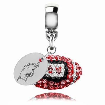 Arkansas Razorbacks Football Drop Charm Fits Pandora Style Bracelets