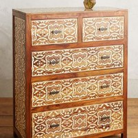 Hadia Inlay Five-Drawer Dresser by Anthropologie in Brown Size: Five Drawer Dresser Furniture