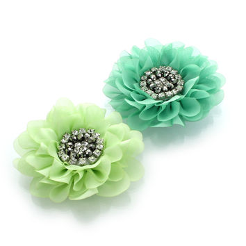 Chiffon Jewelled Hair Flower Clip