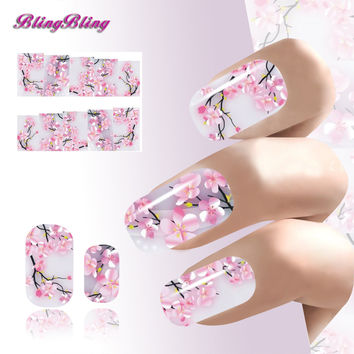 Sakura Nail Art Sticker Flowers Water Decals Transfer Foil Ongle Cherry Blossoms Design For Nails Wraps Manicure Decoration