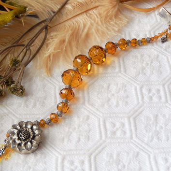 One of a Kind Plus Size Sterling Amber Crystal Vintage Lucite Bracelet