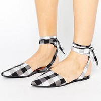 Park Lane Tie Ankle Point Gingham Shoe at asos.com