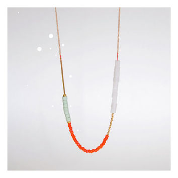 Beaded Colorblocked Necklace in Seafoam, Coral and White, The Bellatrix