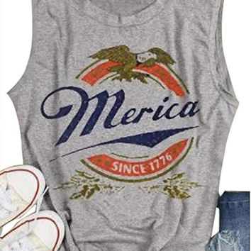 Women's Merica Since 1776 Print Letter Tank Top Sleeveless