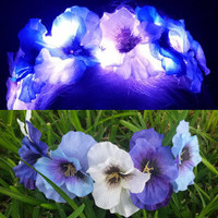 Illuminated Pansy LED Light Up Flower Crown Headband