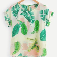 Tropical Print Dip Hem Blouse