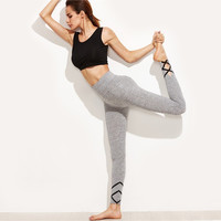 Womens Grey Workout Crisscross Marled Knit Fitness Leggings