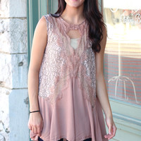 Mmm Girl Lace Shell Tank {Dusty Rose}