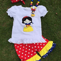 Girls Snow White Outfit - Disney Princess Outfit - Snow White Shirt - Snow White Birthday Outfit, Girls Boutique Clothes, SnowWhite Necklace