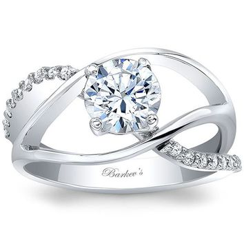 Barkev's Wide High Polish Bypass Diamond Engagement Ring