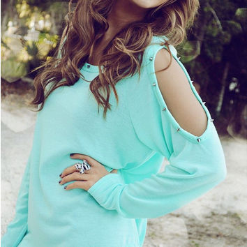 Green Cold Shoulder Beaded Blouse
