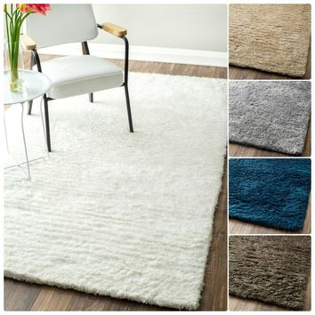 nuLOOM Handmade Solid Soft Plush Shag Rug (3' x 5') | Overstock.com Shopping - The Best Deals on 3x5 - 4x6 Rugs