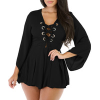 Black Lace-up Ruching Bell Long Sleeve Women Short Romper