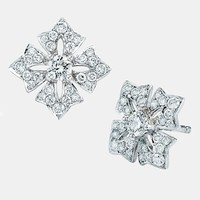 Women's Kwiat Maltese Cross Stud Earrings - White Gold