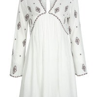 White V-neck Embroidered Detail Keyhole Back Flare Sleeve Dress