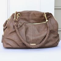 Taupe Handbag with Braided Handles- Urban Expressions Seville Shoulder Bag-$100.00 | Hand In Pocket Boutique