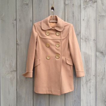Vintage coat | Camel double breasted wool coat