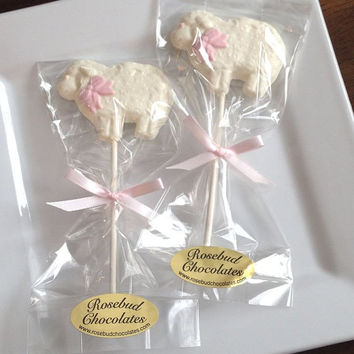 12 White Chocolate Sheep Lamb Lollipops Animal Farm Barnyard Birthday Party Favors Candy