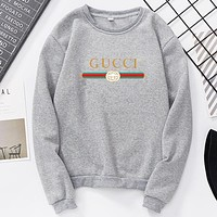 GUCCI Autumn And Winter Fashion New Letter Stripe Print Women Men Long Sleeve Top Sweater Gray
