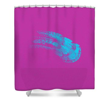The Glowing Jelly Fish By Adam Asar 5 - Shower Curtain