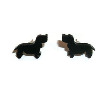 Dachshund Earrings, Cute Tiny Black Sausage Dog Stud Earrings, Animal Jewelry, Kawaii Cute Quirky