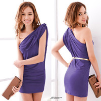New Purple One Shoulder Knot Draped Womens Casual Party Prom Short Dresses 6291