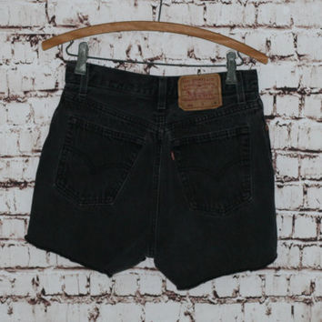 "High Waist Denim Shorts Levis 501 28"" cut offs Faded Blak Wash Distressed grunge festival boho hipster gypsy Frayed Fringe Jeans M 8"