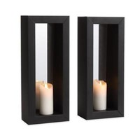 Danya B. Vertical Mirror Pillar Candle Sconce with Metal Frame (Set of 2)