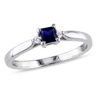 1/3 Carat Created Blue Sapphire and Diamond Ring in Sterling Silver