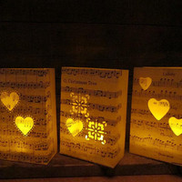 20 Custom Made (small) Luminaries, for wedding ceremony, tables, aisles, dance floor, decor for music themed events