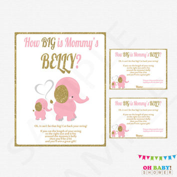 How Big is Mommy's Belly Baby Shower Game Pink and Gold Elephant Baby Shower Printable Instant Download Gold Glitter Baby Shower EL0004-LPG