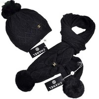 CHANEL New fashion couple hairball hat bowknot scarf two piece Black