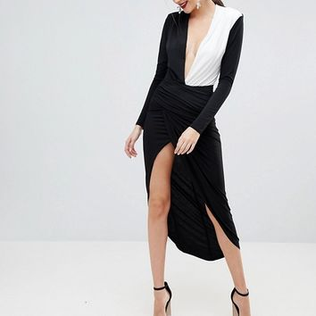 John Zack Tall Plunge Front Wrap Maxi Dress at asos.com