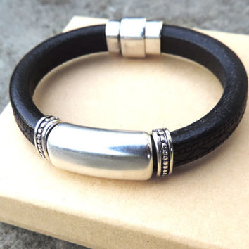 Genuine European Leather Bracelet - Made with Embossed Black Leather, Silver Accents, Gifts for Men and Women