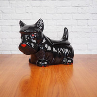 Vintage Black Scottie Dog Cookie Jar by North American Ceramics for the Cookie Jar Company