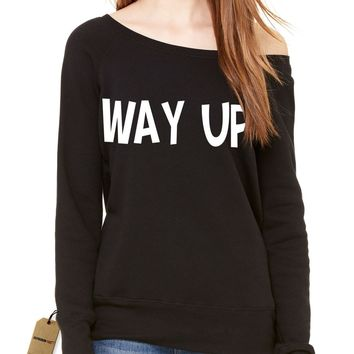Way Up, I Feel Blessed Slouchy Off Shoulder Oversized Sweatshirt