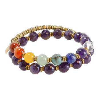 Seventh Chakra, Genuine Amethyst and Chakra Gemstones 27 Bead Wrap Mala Bracelet