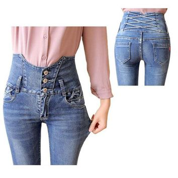 ONETOW 2016  Vintage Jeans Woman high waist Blue Skinny Jeans Plus Size Women Pants Jeans Femme Ripped with diamond Jeans