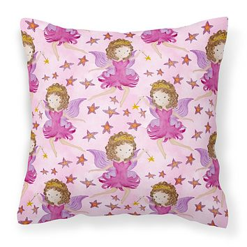Watercolor Fairy Princess on Pink Fabric Decorative Pillow BB7547PW1414
