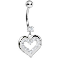 925 Sterling Silver Cubic Zirconia Encased Heart Dangle Belly Ring | Body Candy Body Jewelry