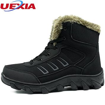 Winter Ankle Boots Men Shoes Fashion Solid Color Snow Boots Male Cotton Plush Antiskid Warm Big Size 48 Cow Military Motocycle